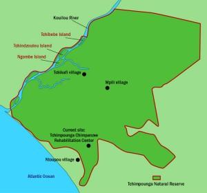 Übersicht: das Tchimpounga Schutzgebiet inkl. den neuen Inseln